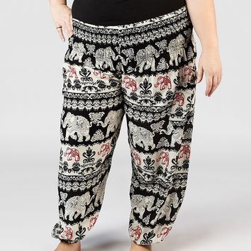 Surapa Black Plus Size Harem Pants
