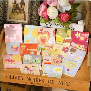 sweet cute pop up birthday cards for kids,handmade small greeting cards with envelopes - 16 designs