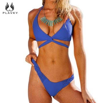 Retro Sexy Solid Braided String Bandage Bikini Swim Wear Bathing Suit Swimsuit Swimwear Women Bikini Set