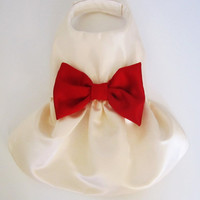 Dog Dress: Ivory Satin with a big Red Satin Bow Holiday dog Dress