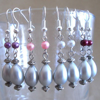 Silver Teardrop Pearl w/ Accent Colored Pearls Dangle Earrings, Handmade, Fashion Jewelry, Simple Elegance, Classic, Bridal, Original Design