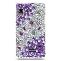 PURPLE & SILVER Hard Plastic Bling Rhinestone Case for Motorola Droid 2 A955 + Screen Protector