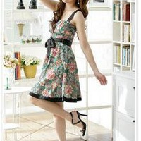 Japanese Fashion Wholesale Printed Flower Dress Green_S/S Dresses_Wholesale - Wholesale Clothing, Wholesale Shoes, Bags, Jewelry, Wholesale Fashion Apparel & Accessories Online