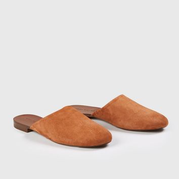Suede Olympia Mule - Saddle