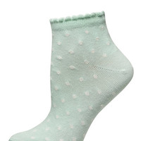 Mint Heart print ankle socks
