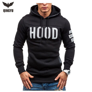 Moleton Masculino 2016 Slim Hoodies Men Sweatshirt Long Sleeve Pullover Hooded Sportswear Men'S Letters Printed Tracksuit