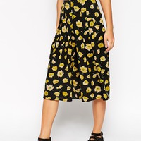 ASOS Wide Leg Culotte in Buttercup Floral Print Co-ord