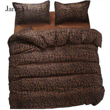 JaneYU 2018 bedding set super king size duvet cover leopard bedding 3/4pcs bed set V pattern bed linen flat sheet Adult bed set