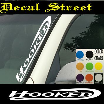 "Hooked Fishing Vertical  Windshield  Die Cut Vinyl Decal Sticker 4"" x 22"""