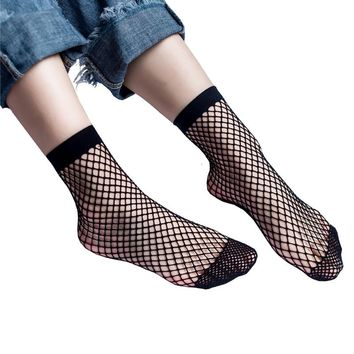 Hot 1Pair Thin Black White Breathable Fishnet Socks Sexy Hollow out Mesh Nets Socks Women Girl's Sox