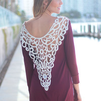 Red Lace Cut-Out Top
