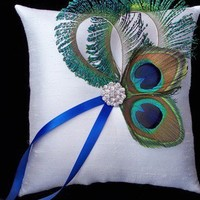 Peacock Feather Ivory Rhinestone Ring Bearer Pillow | Allofyou - Wedding on ArtFire