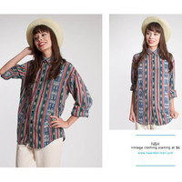 Vintage 90s Long Sleeve Button-Up with Navajo Pattern