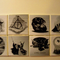 Harry Potter Wall Art or Ceramic Tile Coasters Set by veganrobin