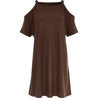 River Island Womens Brown strappy cold shoulder t-shirt dress