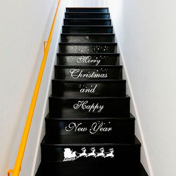 Wall Decal Vinyl Sticker Decals Art Decor Design Sign Custom Quote Stairs Merry Christmas Happy New Year Santa Snowflakes Gift House (r1349)