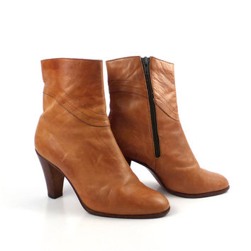 Leather Ankle Boots 1970s Faxma Made in Italy Carmel Brown High Heel Zip Women's size 40