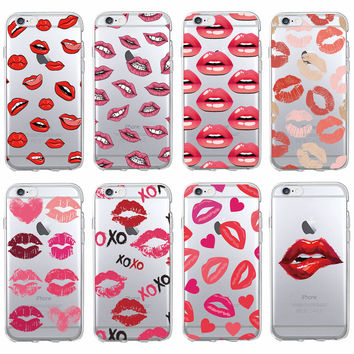 Sexy Lips  XOXO Call Me Lipprint Hickey Lipstick Soft Clear Phone Case Coque Fundas For iPhone 7 7Plus 6 6S 6Plus 5 5S SAMSUNG