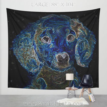 "Dachshund ""Galaxy Quest"" Dog TAPESTRY Decorative Wall Art Nerd Pet Star Starry Galaxy Blue Periwinkle Home Decor Hanging Puppy Constellation"