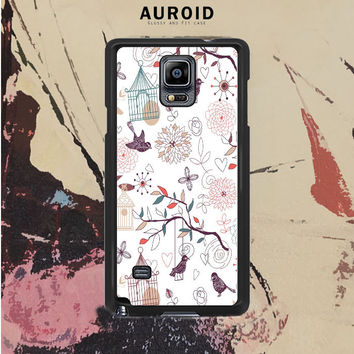 Vintage Birds Patterns Samsung Galaxy Note 4 Case Auroid