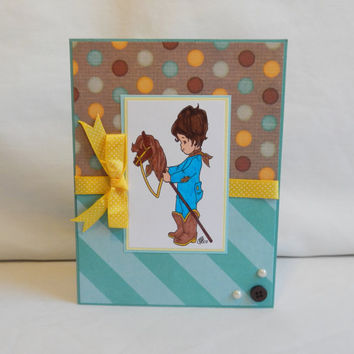 Cowboy Card, Paper Handmade Greeting Card, Blank Card, Card Shop, Card For Him, For a Boy, Little Boy, Male Card, Button, Pearl, Blue, Brown