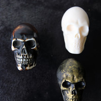 Skull Knob - White Antique Gold or Antique Brown