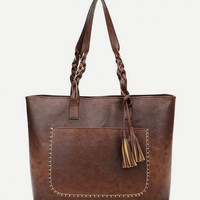 Tassel Decor Tote Bag With Braided Handle