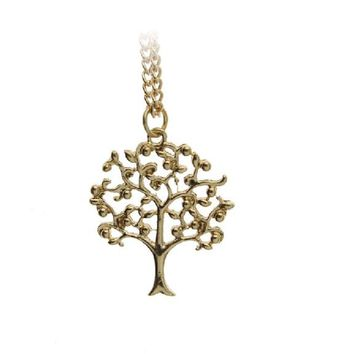 Fashion Gold Plated Rich Tree Plant Pendant Necklace