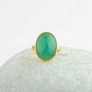 Silver Ring, Pyramid Ring, Green Chrysoprase Chalcedony Oval Pyramid 13x18mm Gold Plated Ring 925 Sterling Silver Ring Jewelry #1033