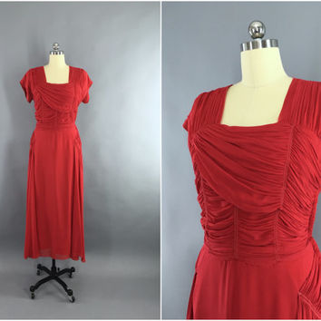 Vintage 1930s Dress / 30s Bias Cut Dress / Red Silk Chiffon Maxi Dress / 1930 Evening Gown / Old Hollywood / Size Large L 12 14
