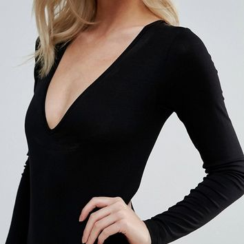 ASOS PETITE Body With V Neck Long Sleeve And Thong at asos.com