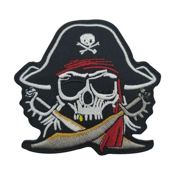 Pirate Skull Cross Swords Red Turban Skeleton Bone Zombie Ghost Embroidered Patch Free Shipping Iron on backing