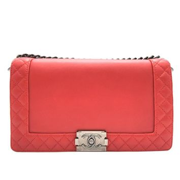 Chanel Boy Reverso Red Quilted Lambskin Leather SHW Chain Shoulder Bag