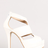 Strappy Peep Toe Platform Stiletto Heel