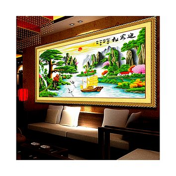 Living Room Bedroom Scenery Mountains-and-waters Painting Printing Diamond Painting The Pine Greeting Guests Luck in Making Money Cross Stitch