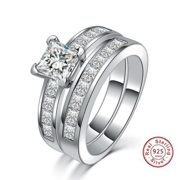 Romatic S925 Sterling silver Wedding  White Crystal CZ Couple Rings Set