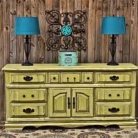 Yellow Dresser Vintage Rustic Wood Furniture Buffet TV Stand Storage