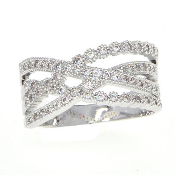 Dear Deer White Gold Plated Wide Band Filigree Cubic Zirconia Ring