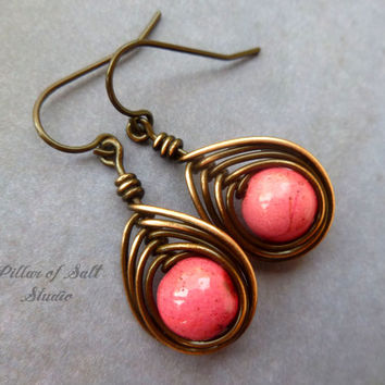wire wrapped earrings, Copper earrings, wire wrapped jewelry handmade, wire jewelry, copper jewelry, bubblegum pink howlite