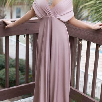 LILAC V NECKLINE WITH LACE STRAP SELF DESIGN CROSS OVER TOPS LOOK OPEN BACK SEXY PARTY CLUBBING WEDDING MAXI DRESS