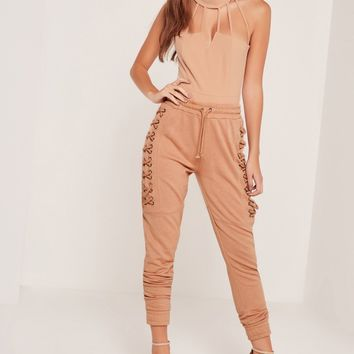 Missguided - Sarah Ashcroft Strappy Neck Bodysuit Camel