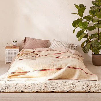 Vintage Moroccan Tonal Striped Wool Bed Blanket - Urban Outfitters