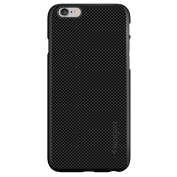 DistinctInk® Spigen ThinFit Case for Apple iPhone or Samsung Galaxy - Black Grey Carbon Fiber Printed Design