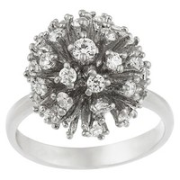 Sterling Silver Cubic Zirconium Disco Ball Ring - Silver