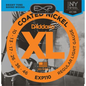 D'Addario EXP110 Coated Nickel Wound Electric Guitar Strings, Light, 10-46