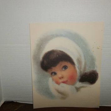 vintage northern bathroom tissue brown hair snow girl print picture wall decor