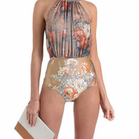 Women Trendy Ethnic Printed One Piece Swimsuit Floral Printing Monokinis High Neck Halter Swimwear Bathing Suit