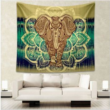Enipate Indian Elephant Tapestry Aubusson Colored Printed Decor Mandala Tapestry Religious Boho Wall Carpet Living Room Blanket