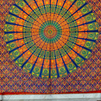 Mandala Wall Hanging, Psychedelic Tapestries, Peacock Feather, Large Wall Decor, Boho Beach Blanket, Cotton Wall Hanging, Queen Bedding