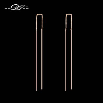 Double Fair Simple Strip Bar Long Line Chain Drop/Dangle Earrings Silver/Rose Gold Color Fashion Jewelry For Women Gift DFE789